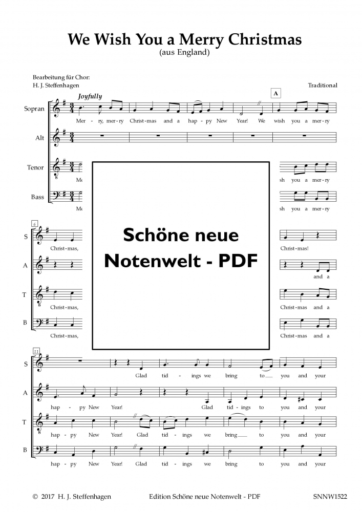 Bild 1 von We Wish You a Merry Christmas (Chor-SATB) - pdf