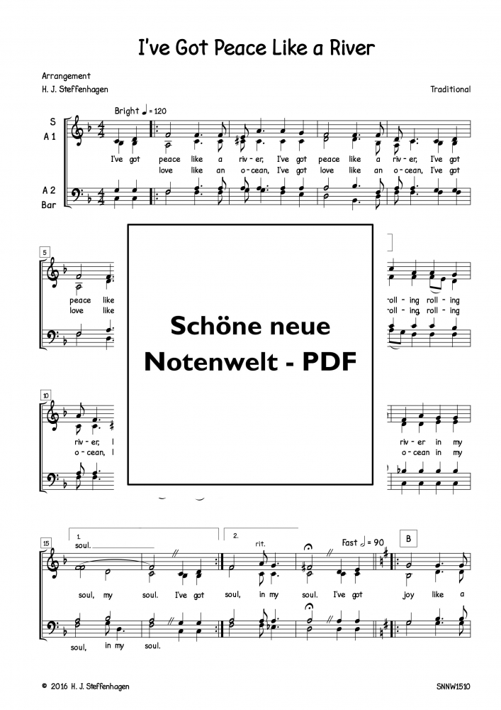Bild 1 von I've Got Peace Like a River (Chor-SATB) - pdf